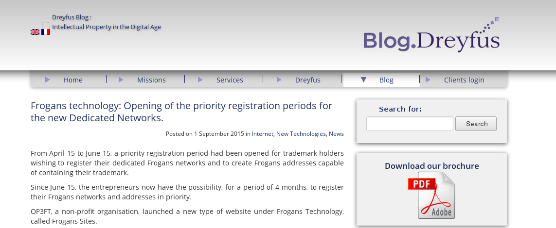 Article on Dreyfus' blog about Frogans Priority Registration Period for Trademark Holders