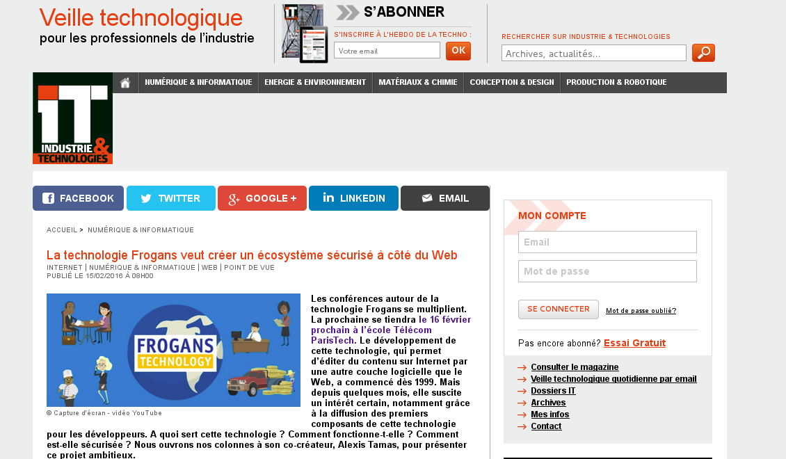 "Article about Frogans in ""IT industrie et technologies"" webzine"