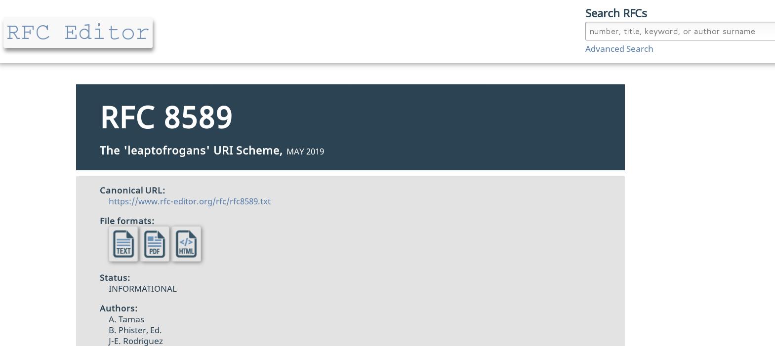 RFC8589 leaptofrogans URI scheme informational RFC